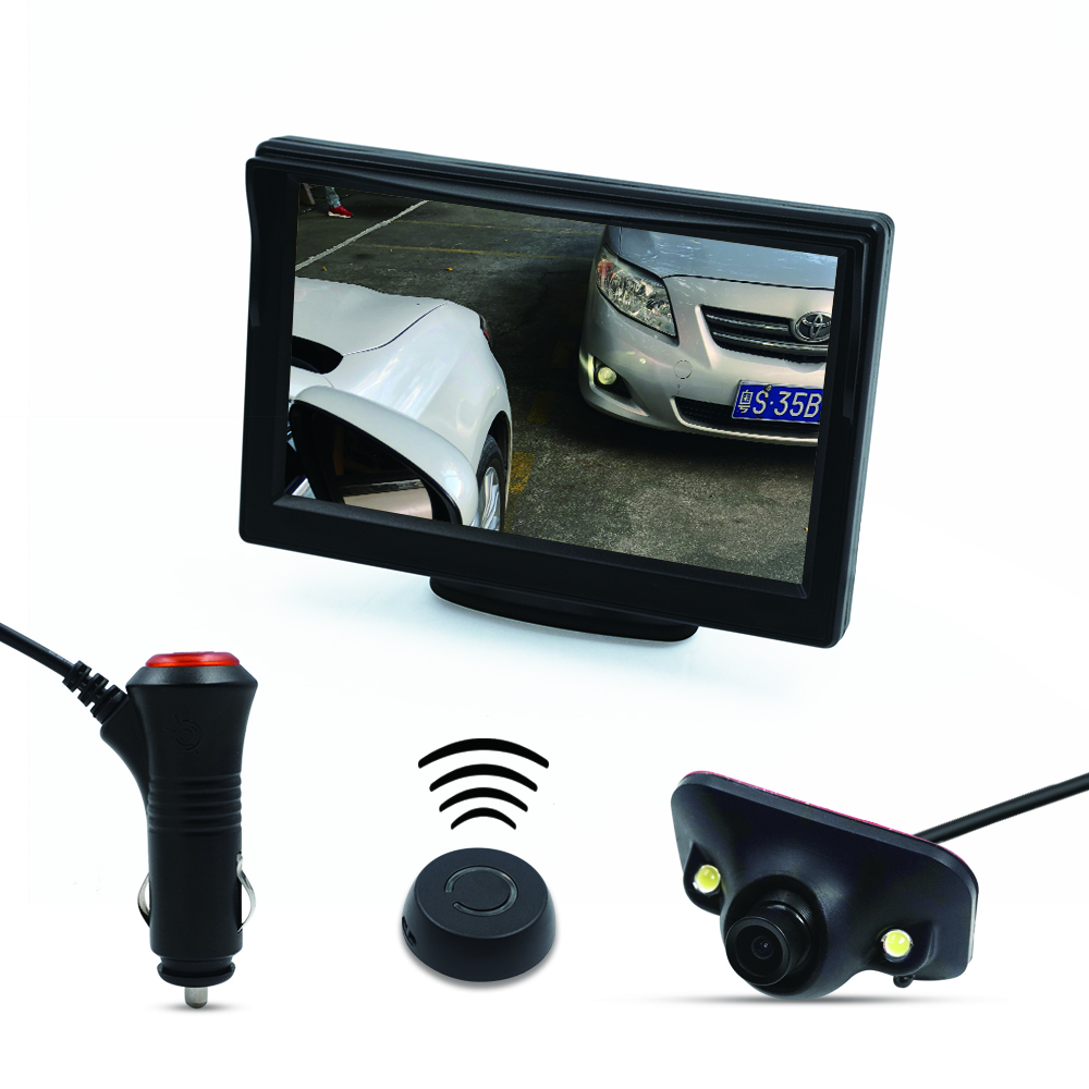 car wireless button control Diy install blind spot detecion side view camera 5 HD parking monitor
