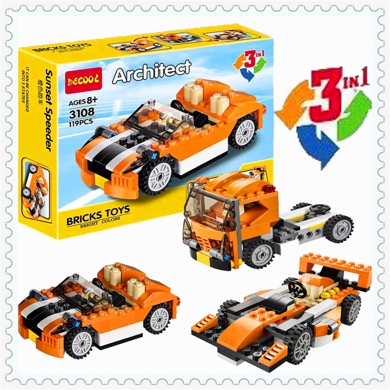 City Creator 3 In 1 Sunset Speeder Car Model Building Block Toys Compatible Legoe DECOOL 3108 119Pcs Figure Gift For Children 608pcs race truck car 2 in 1 transformable model building block sets decool 3360 diy toys compatible with 42041