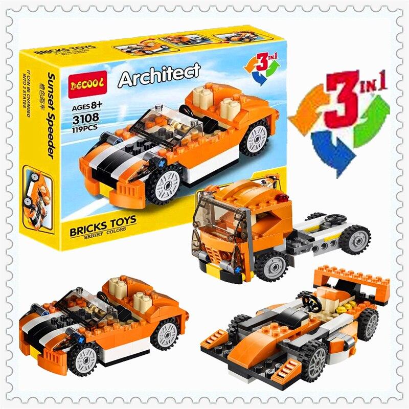 Ciudad creador 3 en 1 Sunset speeder coche modelo bloque de construcción Juguetes compatible Lego decool 3108 119 unids figura regalo para los niños