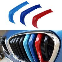 muchkey 3D M Car Styling Front Grille Insert Trim motorsport Strips grill Cover Stickers For BMW 116i 118i 120i 9 grilles