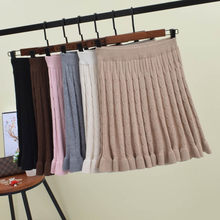 2018 Women Knitted Skirt Autumn Winter Solid Elastic High Waist Short skirts Umbrella Pleated Skirt Female Mini Ruffle Skirt(China)