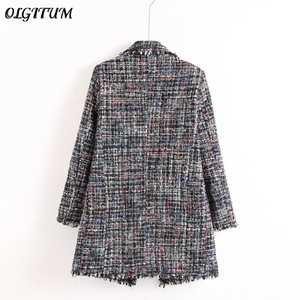 Image 2 - Fresh style Spring/Autumn female casual jacket coat hand tassel loose coat checkered Tweed coat jacket lapel thick jacket