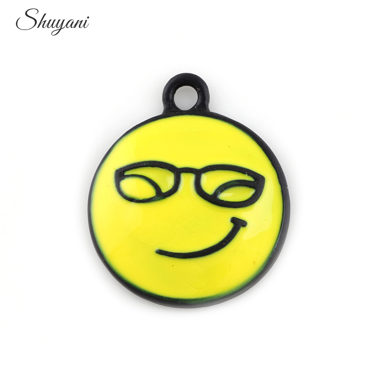 25*20mm Silver Enamel Face Expression Charms Pendant Jewelry Making Necklace Bracelet Findings Accessories