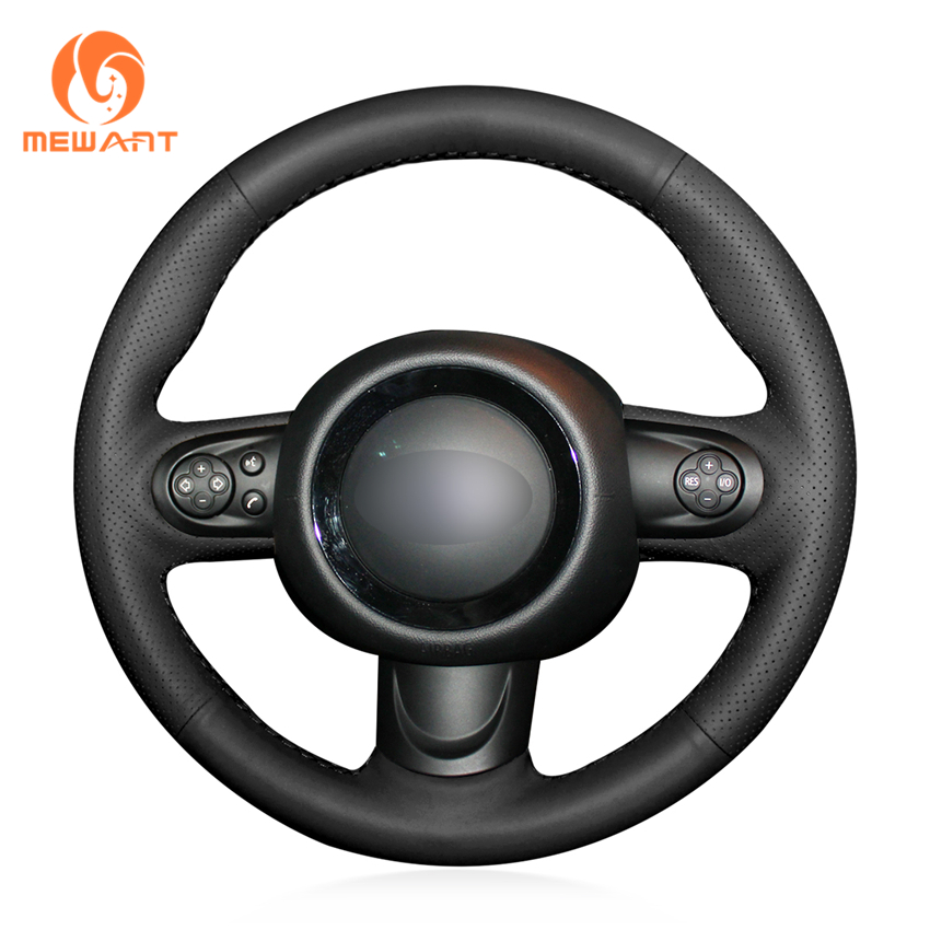 MEWANT Hand stitched Black Genuine Leather Comfortable Soft Durable Anti slip Hand Sew Wrap Steering Wheel