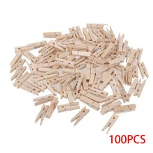 100Pcs Wholesale Small Size 3.0*0.4cm Mini Natural Wooden Wooden Clips For Photo Clips Clothespin Craft Decoration Clips(China)