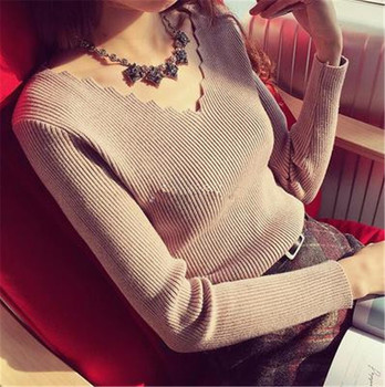 Fashion Autumn Women V-neck Long-sleeve Knitted Sweater Female Jumper Pullover Solid Basic Elasticity Women Clothing Pull Femme 1