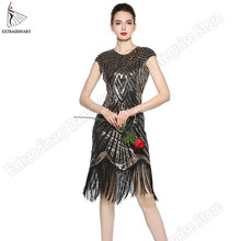 28fc33f49de9 Womens 1920s Vintage Flapper Great Gatsby Party Dress V-Neck Sleeve Sequin  Fringe Midi Dresses