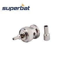 Superbat 10pcs BNC Crimp תקע מחבר עבור RG174,RG316,LMR100,1.13mm,1.37mm כבל