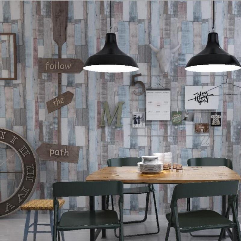 Beibehang rétro nostalgie couleur grain de bois rayé papier peint salon chambre café américain papier peint pour murs 3 d behang