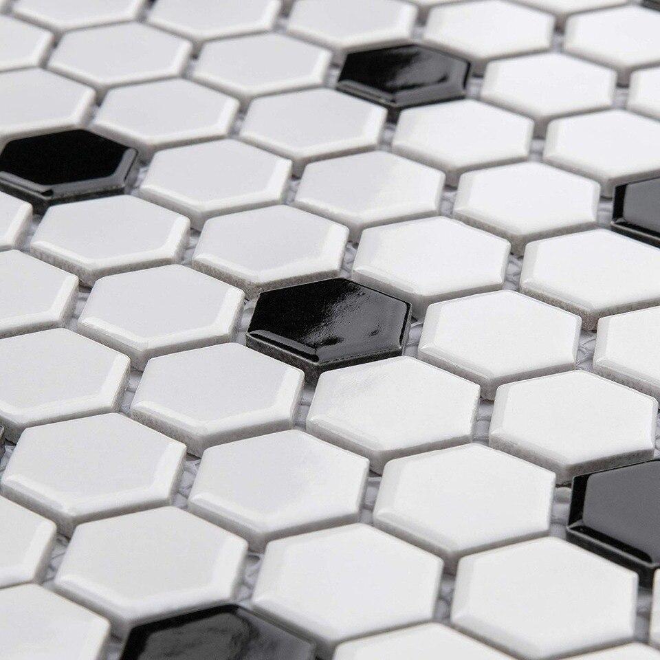 - Nordic Modern Hexagon Glossy Black White Mixed Ceramic Mosaic Tile