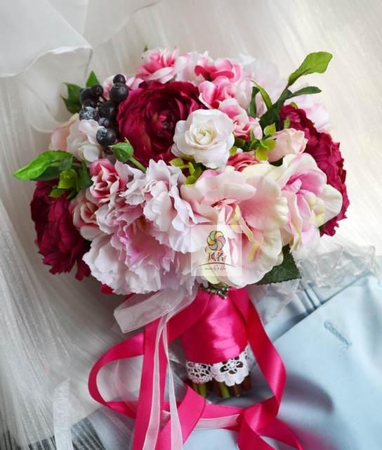 Online Shop New Style Handmade Rose Pink Rose Lotus Wedding ...