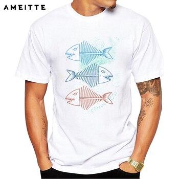 Moda 3 peces coloridos impresos camiseta de los huesos de pescado de los hombres camisetas de verano de alta calidad novedad camisetas Homme