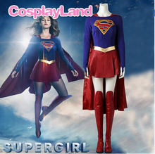 Supergirl Costume Cosplay Outfit 2017 Superhero SuperGirl Kara Zor-El Danvers Halloween Costumes Jumpsuit Skirt Cape supergirl who is superwoman