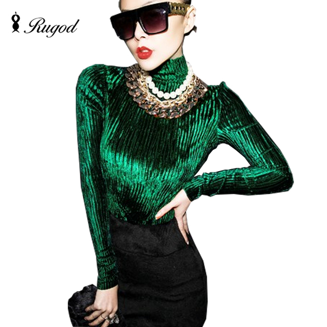 Sexy Vintage Velvet Top American Appeal T Shirt Women Velour Blusa Turtleneck Long Sleeve T-Shirt Fashion Street Womens Tops