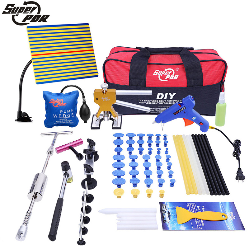 Super PDR Tools Kit - Brand New Paintless Dent Repair Tools Set Car Dent Repair Tool Set Glue Puller Glue Gun Tools Bag Tabs