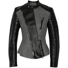 Grey faux leather PU Jacket Women  fashion rose Winter AutumnMotorcycle Black Coat Outerwear Gothic
