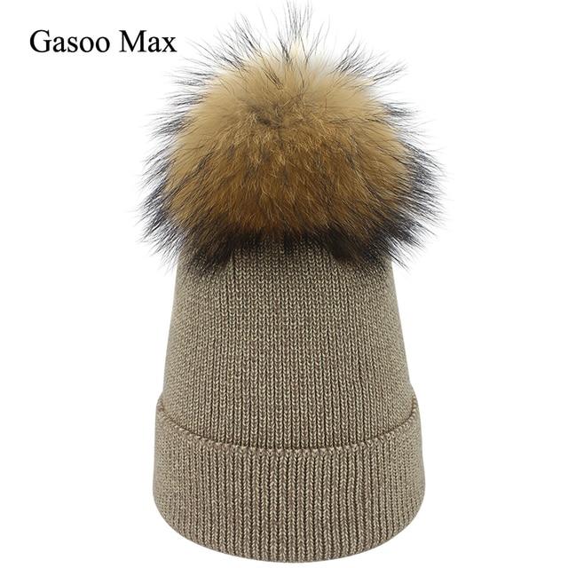 a2c695b326beb Winter Women Bling Beanies Knit Hat Real Fur Pompom Women s Hat Beanie  Gorro Feminino Caps Casual
