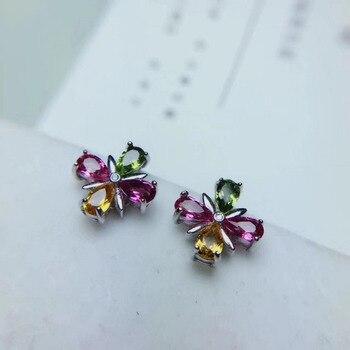 natural Multicolor tourmaline Bohemia Clover earrings 925 silver Natural gemstone earring women fine party Earrings jewelry