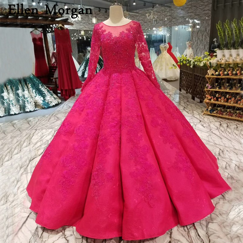 Hot Pink Lace Ball Gowns Wedding