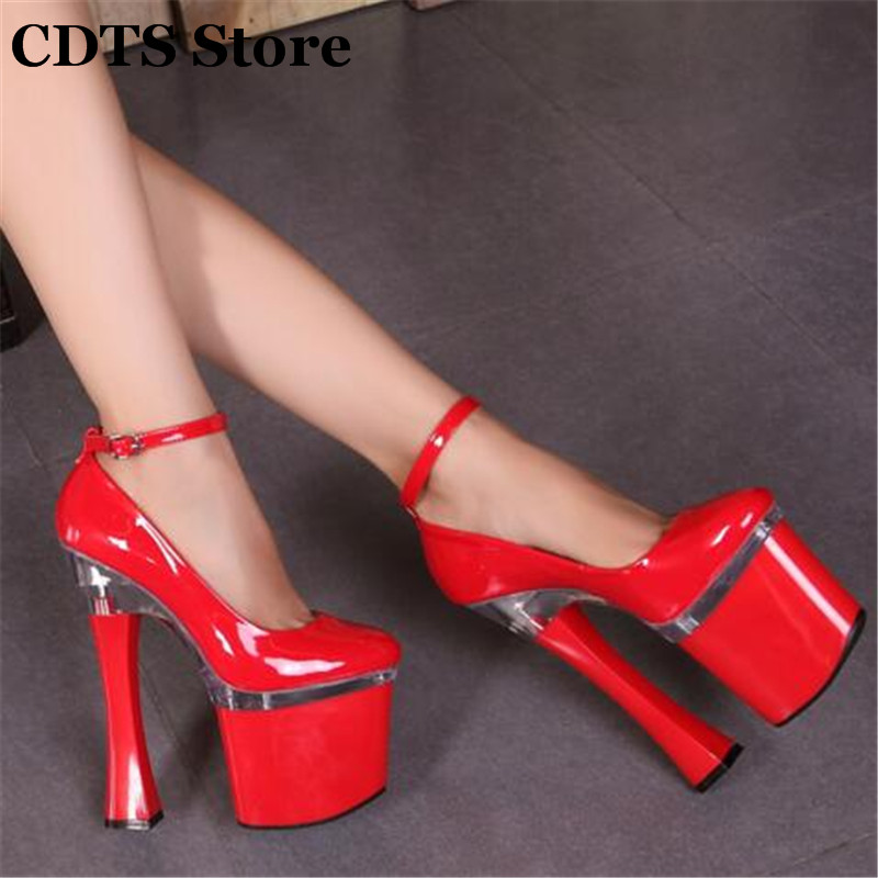 CDTS Plus:34-44 women's chromophous fashion high-heeled 20cm Thick Heels banding bandage paint low-top platform single Pumps 557t071nf432s d sub backshells sld banding bs top mr li