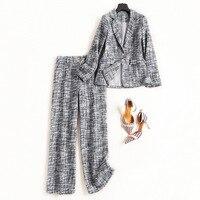 Women office lady elegant one button blazer suits + long pants suit tweed 2 piece set new 2018 autumn gray