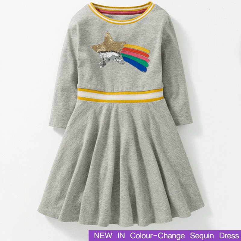 Girls Clothing Changes Colour Sequin Brand Girl Dress Long Sleeve Cotton Kids Clothes Children Princess Dresses New Costume girls kids denim dresses girls 2018 new spring girl long sleeve jeans dress children s brand clothing toddler clothes w8368