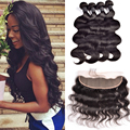 7A Brazilian Body wave Lace Frontal Closure 13x4 brazilian hair full lace Frontal closure 4 bundles human hair with closure