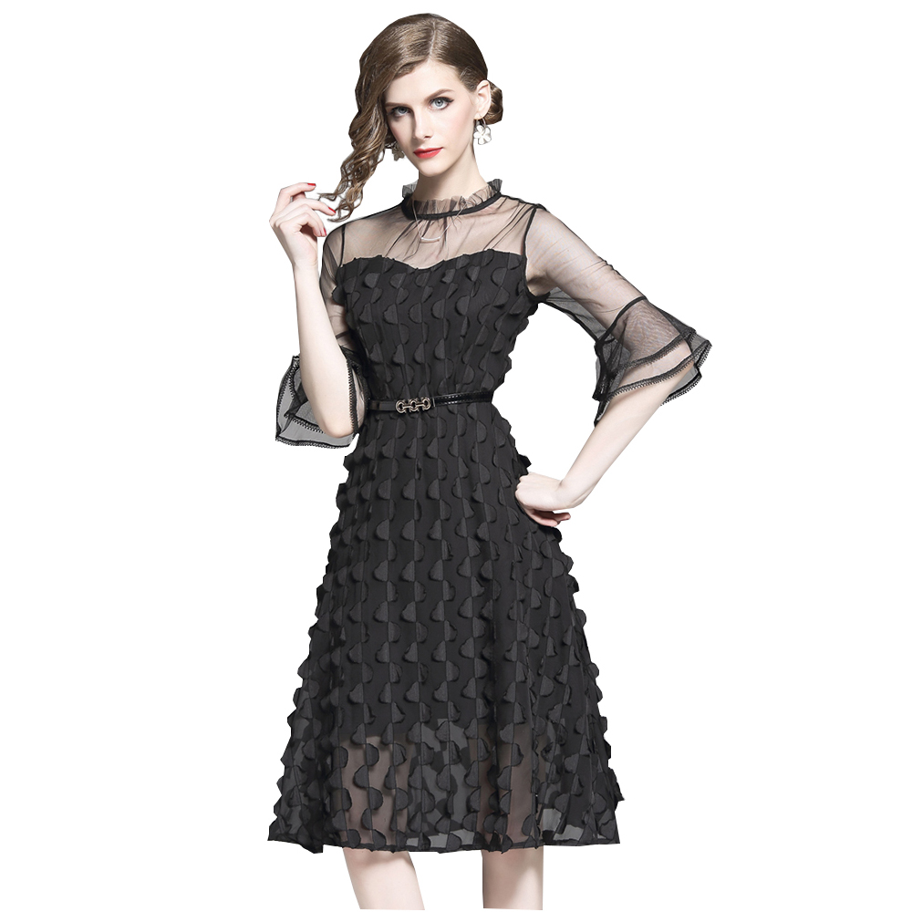 Elegant Woman Mesh Party Dress Stand Collar Flare Sleeve 3D Tessels A line Dresses OL Slim Midi Party Dresses Solid Black White in Dresses from Women 39 s Clothing