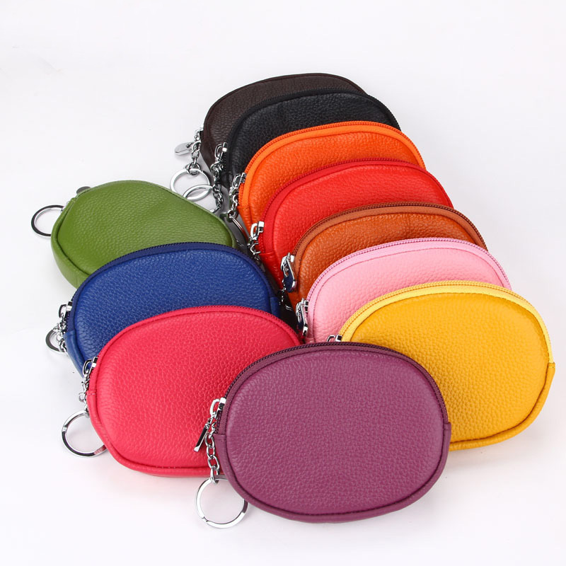 Women Leather Coin Purse Small Wallet Round RFID Card Holder Portable Zipper Key Case Pouch Change Pocket Mini Money Storage Bag