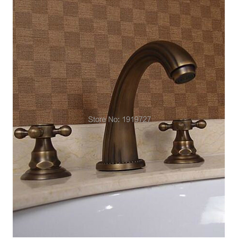 ФОТО 100% Soild Brass Classic Luxury Style Patent Design 2016 Factory Direct Lead Free Copper Antique Widespread Lavatory Faucets