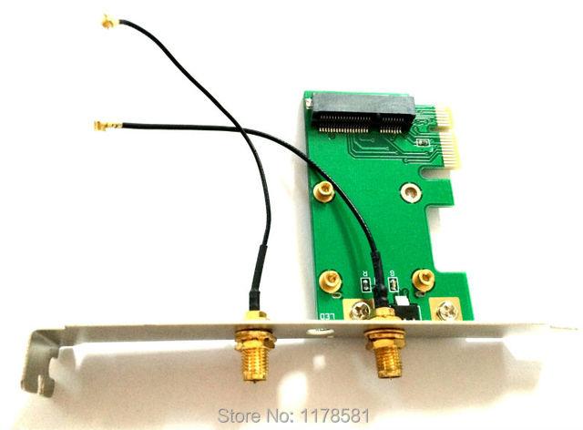 Mini-pcie para pcie adaptador de cartão de Rede Sem Fio mini-cartão para adaptador PCI Express pcie wlan Sem Fio + 2 pcs antena