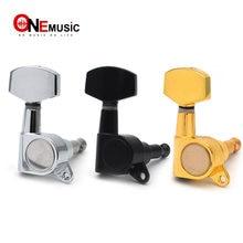 Clavijas de afinación de guitarra eléctrica, sintonizador de llaves grande y cuadrado, negro/dorado/cromo