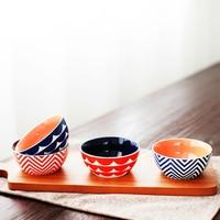 Amerikanischen Stil Cartoon Geometrische Nette keramik geschirr schüsseln sets 4 stücke salat obst reisschüsseln paar schalen porzellan tabelware