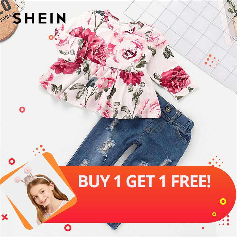 SHEIN Floral Print Top With Ripped Jeans Set Child Casual Teenage Girls Clothing 2019 Spring Fashion Long Sleeve Kids Clothes sexy floral print strapless bodycon dress for women