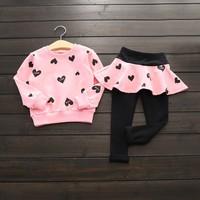 Autumn Winter Toddler Girls Kid Long Sleeve Printed Shirt Top Pants Clothes Outfit 2pcs Set