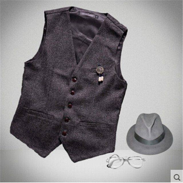 Men Autumn Solid Color Vintage England Style Vest For Business Men With Fake Pockets Cotton Single Brested Vests Suit A2673