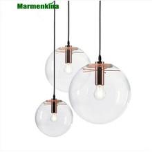 Современный с одной головкой для гостиной или спальни гостиной Подвесная лампа для помещений ясный стеклянный шар шариковая Подвесная лампа AC110V 220 V 230 V
