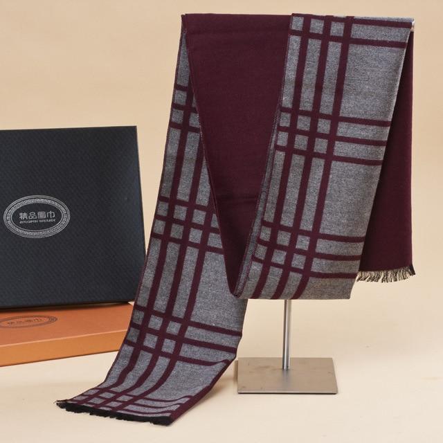 Мода зима теплая кашемир шарф для мужчин классический бренд большой размер плед шарфы мужские день святого валентина подарок Акриловые шарфы воротник