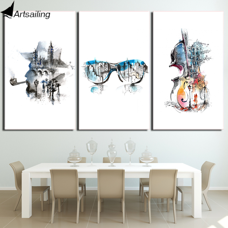 Us 7 4 40 Off Hd Print 3 Piece Canvas Art Abstract Watercolor Guitar Painting Music Wall Poster And Prints Home Decor Free Shipping Cu 2774c In