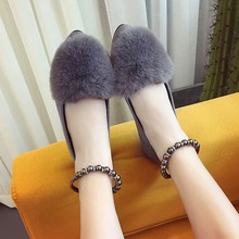 2017 new women shoes suede shoes spring autumn pointed toe shoes fur flats lady girls flat heel fashion sexy flats black gray