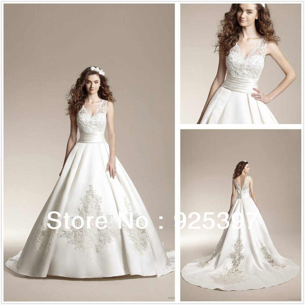 Illusion v neckline top lace bodice ball gown satin skirt ...