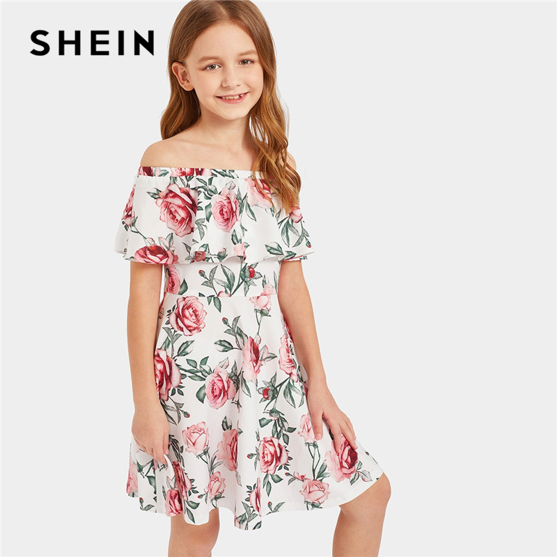 SHEIN Kiddie Ruffle Off the Shoulder Floral Print Boho Girls Dress 2019 Summer A Line Casual Short Kids Dresses For Girls vogue floral imprint short sleeve womens skater dress