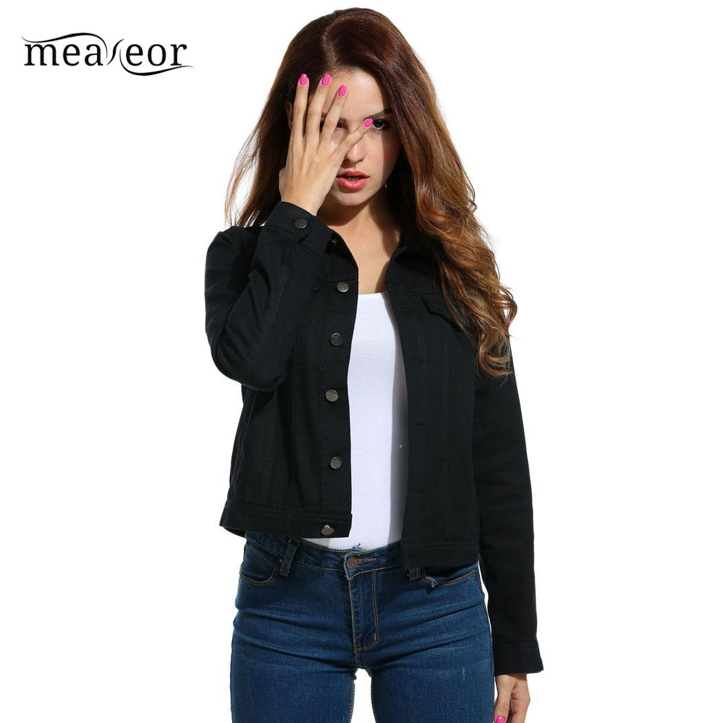 Meaneor Women Jacket Spring and Autumn Outwear Loose Overcoat Long Sleeve Jeans Jackets Women's Clothing Solid female Coats