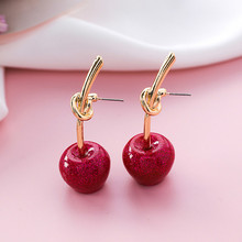 Pendientes lindos/románticos redondos para mujer, pendientes de cereza dulce, pendientes para mujer