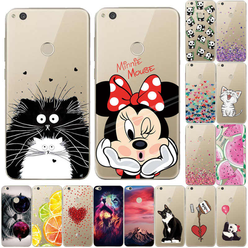 "THREE-DIAO Silicone Case Huawei Honor 8 Lite Case Cover 5.2"" Huawei Ascend P8 Lite 2017 Soft TPU Phone Shell P9 Lite 2017"