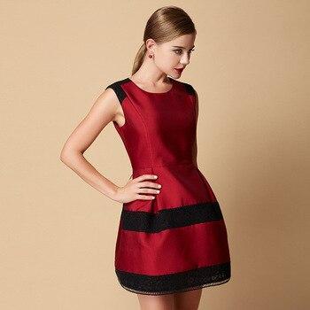 women's dress Fashion High end brand women's 2015 lace cotton net contrast color block dress Slim sleeveless dress