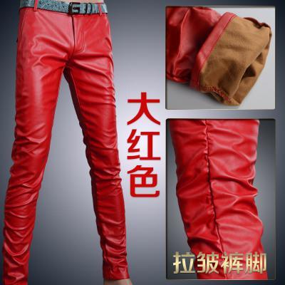 Мотоцикл Клуб Плотно Искусственной Кожаные Штаны Мужчины Горячая Мужская Мода брюки Для Мотоциклов Танцевальные Брюки Для Мужчин Hip Hop Мужчины Брюки - Цвет: red wrinkle