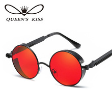 QUEENS KISS Gothic Steampunk Women Men Sunglasses Coating Mirrored Sunglasses Round Circle Sun Glasses Retro Vintage Q1706