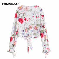 Women Hollow Out Patchwork Blouse Shirt Summer Floral Print Lace Patchwork V Neck Flare Long Sleeve Ladies Blusa Tops