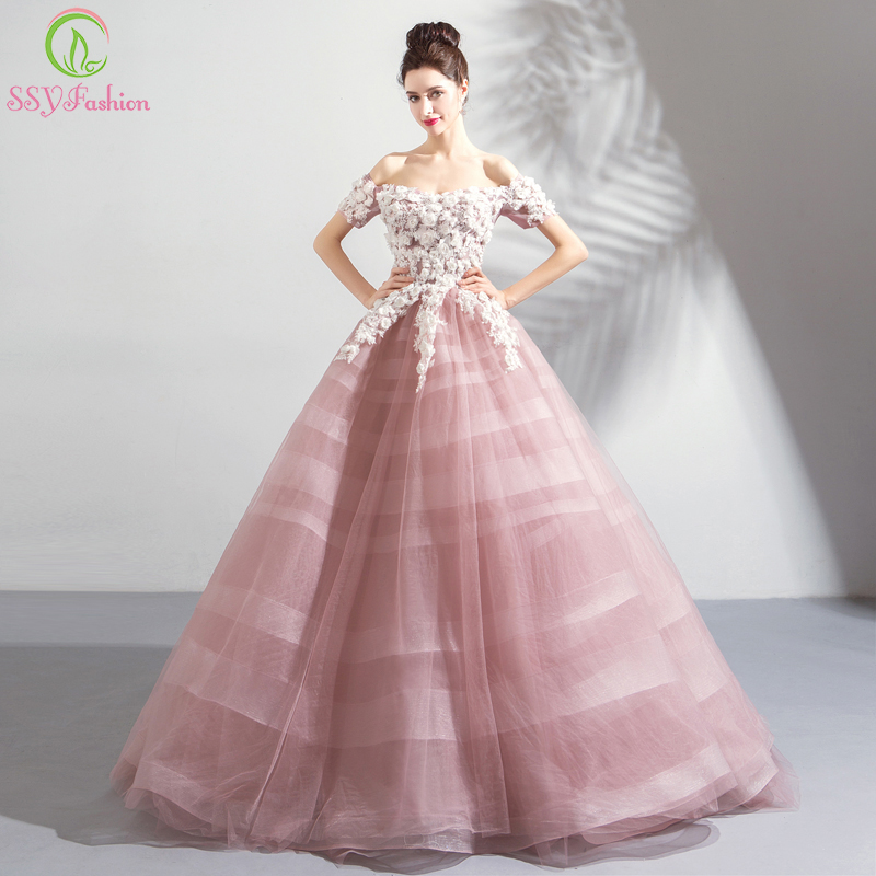 SSYFashion New Lace Flower   Evening     Dress   Sweet Pink Boat Neck Appliques Floor-length Prom Party Formal Gown Robe De Soiree